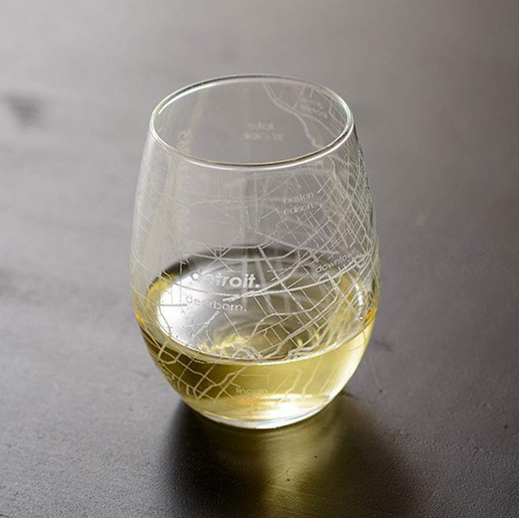 Detroit Map Stemless Wine Glass