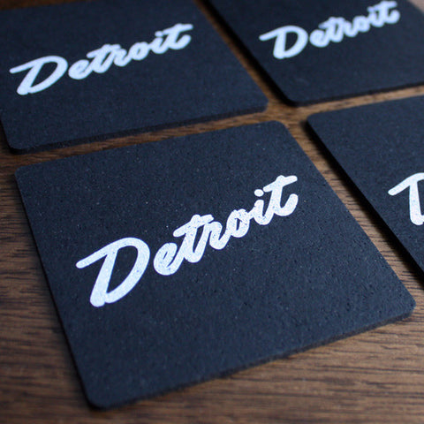 Detroit Script Recycled Tire Coaster Set