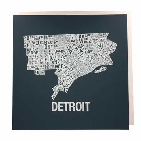 White on Navy Detroit Neighborhood Map Print - City Bird