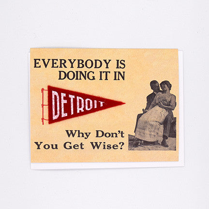 Everybodys Doing It In Detroit Felt Pennant Card - City Bird