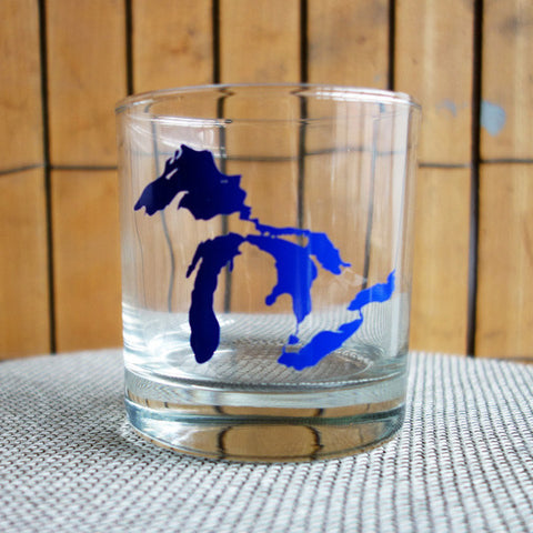 Great Lakes Printed Rocks Glass - Dark Blue - City Bird