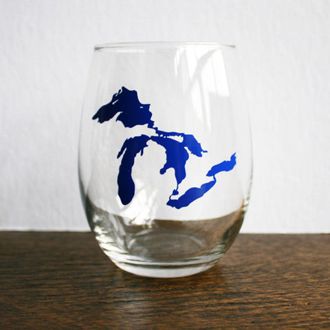 Great Lakes Stemless Wine Glass - Blue - City Bird