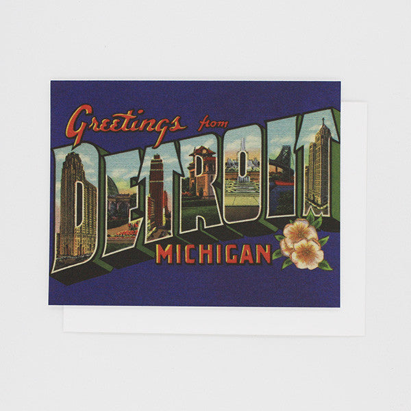 Greetings From Detroit 1920s Card - City Bird
