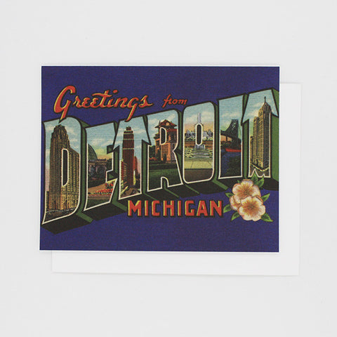 Greetings From Detroit 1920's (Blue) Card - City Bird