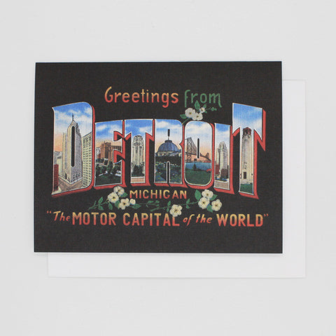 Motor Capital Greetings from Detroit Card - City Bird