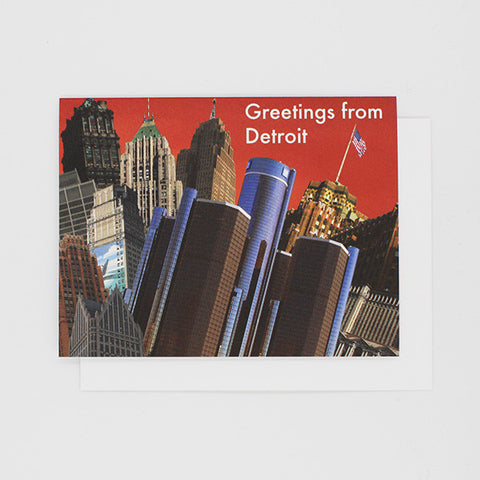 Greetings From Detroit Collage (Red) Card - City Bird