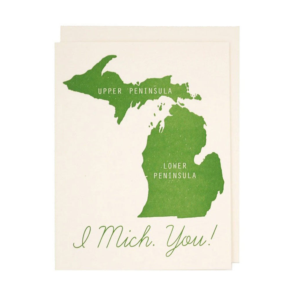 I Mich You Letterpress Card - City Bird