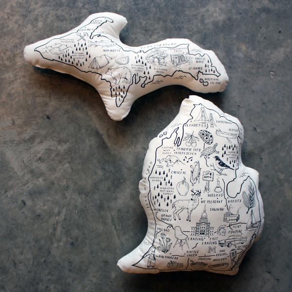Set of State of Michigan Map Pillows - City Bird