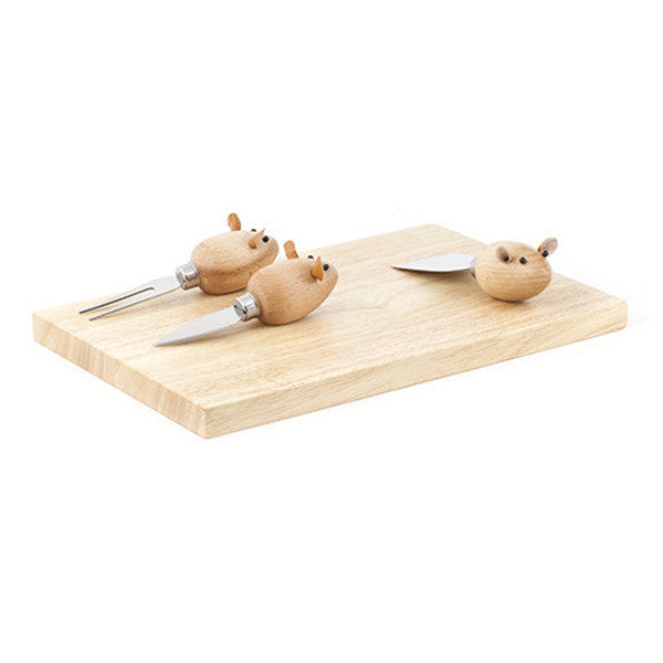 Cheese Board with Mouse Knives - City Bird