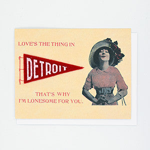 Loves the Thing in Detroit Felt Pennant Card - City Bird