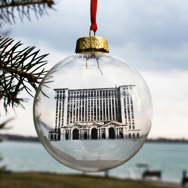 Michigan Central Station Glass Christmas Ornament - City Bird