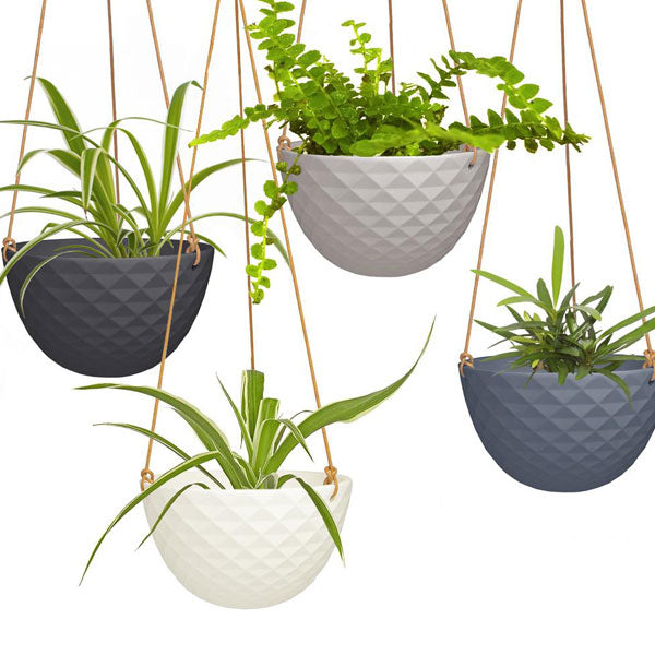 Light Grey Faceted Ceramic Hanging Planter