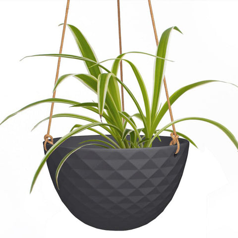 Black Faceted Ceramic Hanging Planter