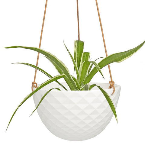 White Faceted Ceramic Hanging Planter