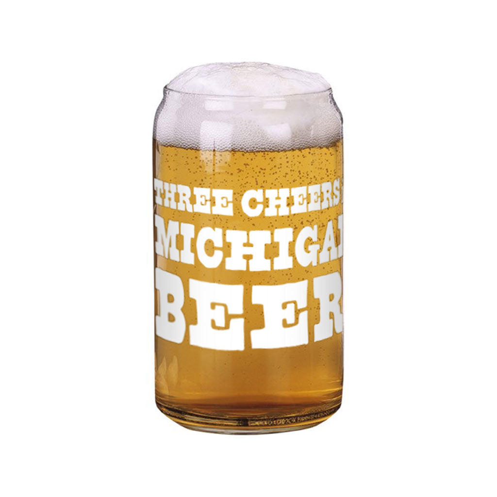 Three Cheers for Michigan Beer Can Glass