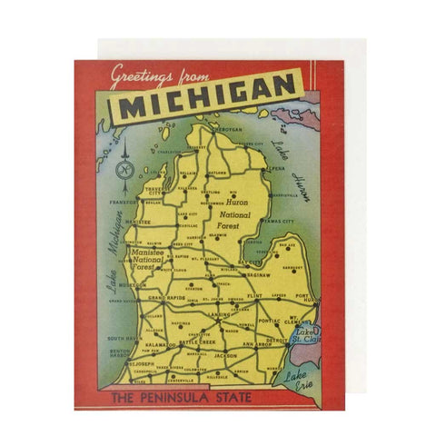 Greetings from Michigan 1940's Card (Red) - City Bird