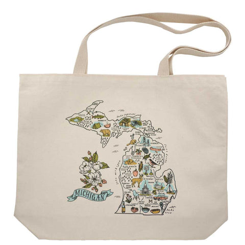 Michigan Screen Printed Map And Iconography Tote - City Bird