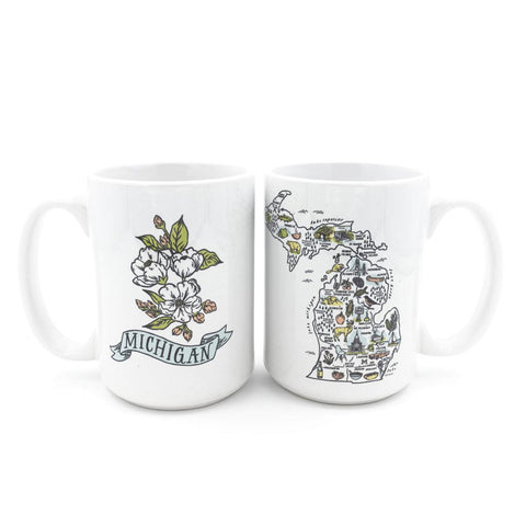 Illustrated Michigan Map Mug - City Bird