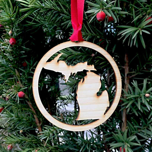 Wooden State of Michigan Peninsulas Silhouette Ornament - City Bird