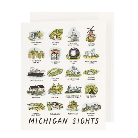 Michigan Sights Letterpress Card - City Bird