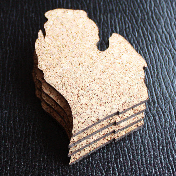 Michigan-Shaped Cork Coaster Set - City Bird