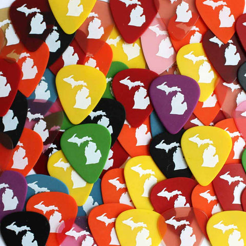 Set of Five Michigan Silhouette Guitar Picks - City Bird