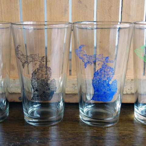 Michigan Map Pint Glasses - City Bird
