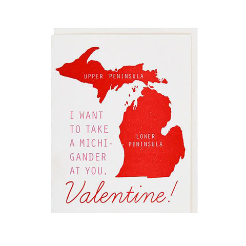 I Want To Take a Michi-Gander at You Valentine Letterpress Card - City Bird