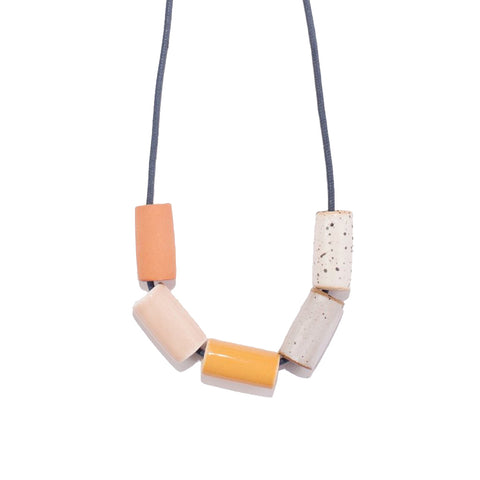Blush/Mustard Ceramic Necklace - City Bird