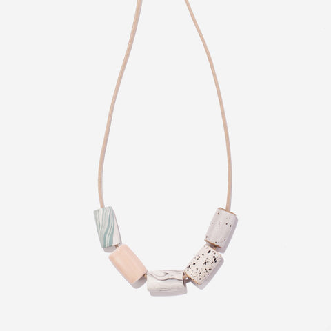 Ceramic Necklace - Blush and Marble - City Bird