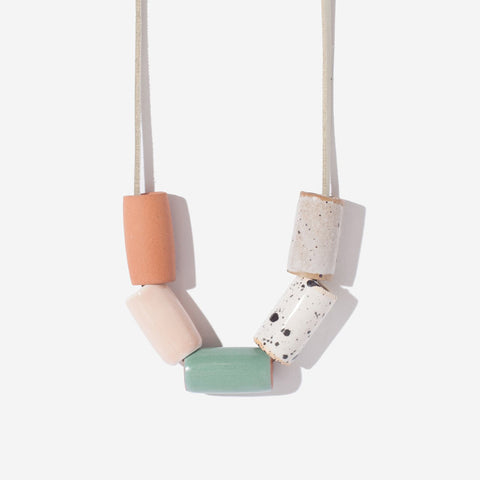 Ceramic Necklace - Blush and Seafoam - City Bird