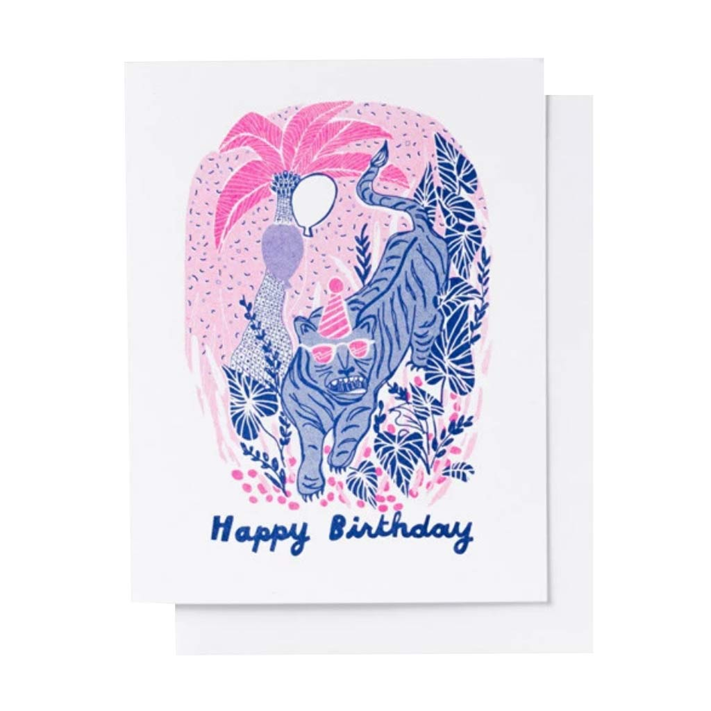 Tiger Happy Birthday Risograph Card