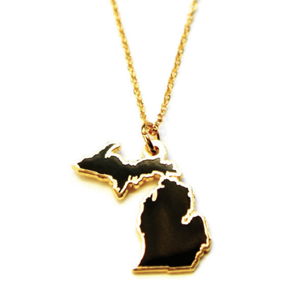 Michigan Silhouette Cloisonne Necklace