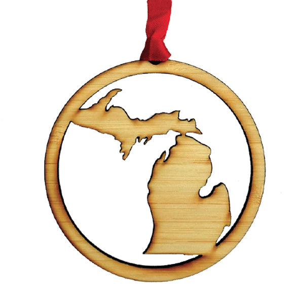 Wooden State of Michigan Peninsulas Silhouette Ornament