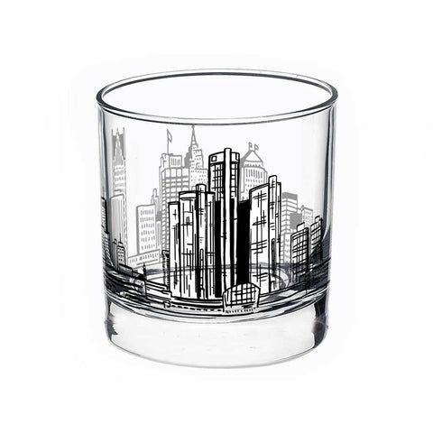 Detroit Skyline Printed Rocks Glass - Black - City Bird