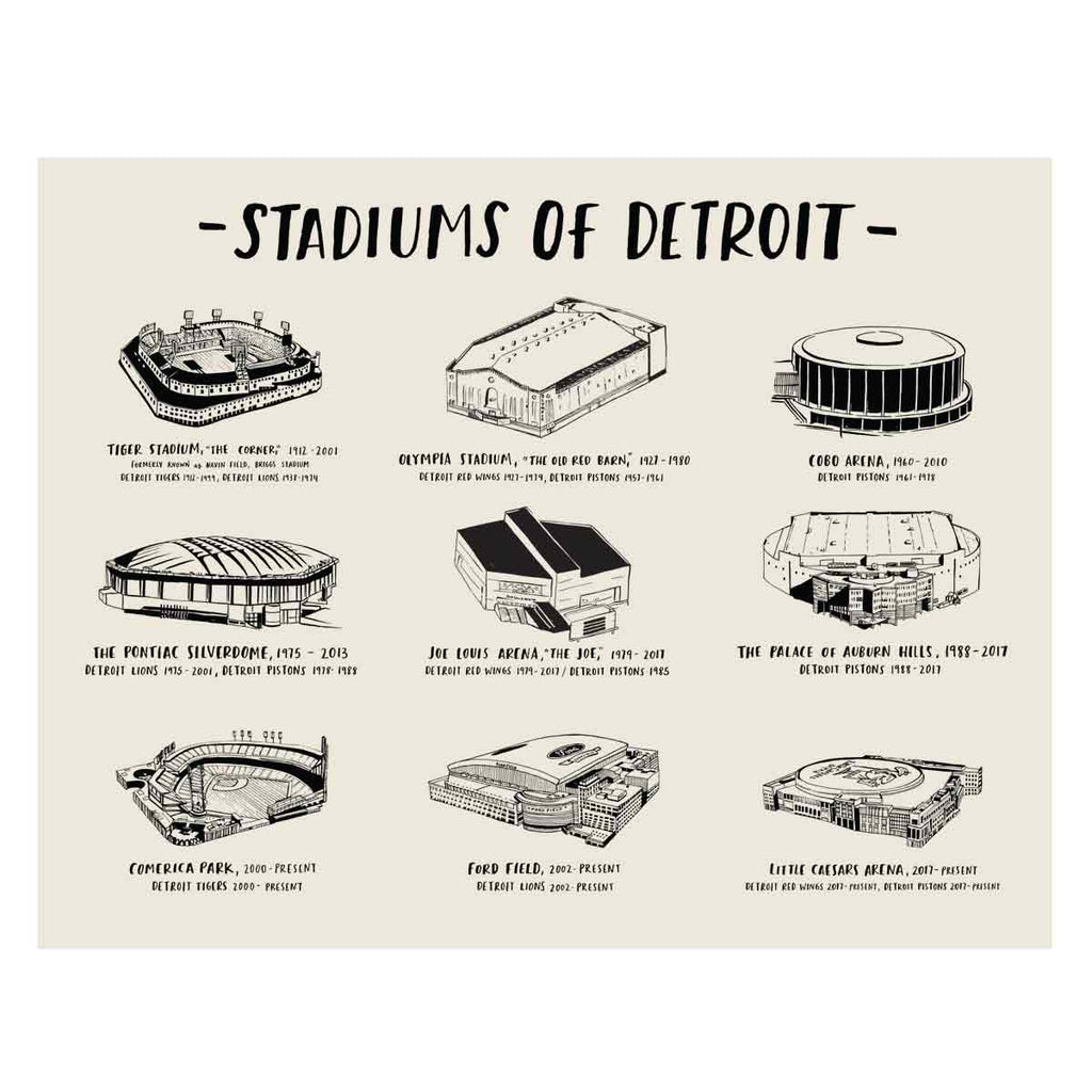 Stadiums of Detroit Art Print - City Bird