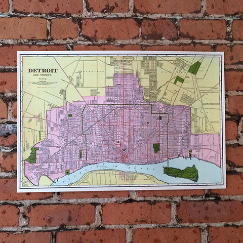 Colorful Vintage Detroit Map Silkscreened Art Print