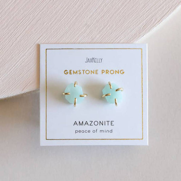 Amazonite Gemstone Prong Earrings