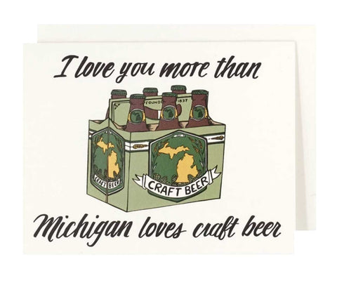 Michigan Beer Love Letterpress Card - City Bird