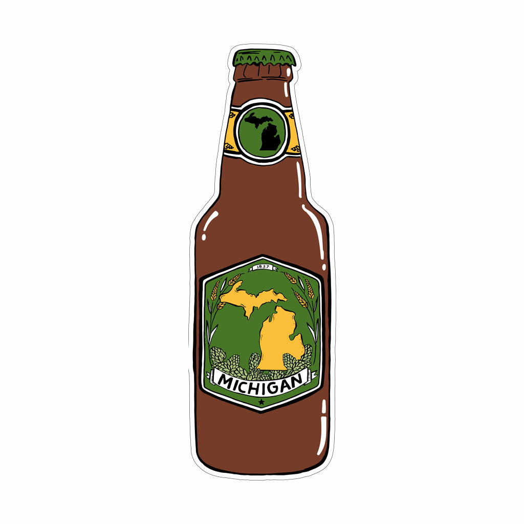 Michigan Beer Bottle Vinyl Sticker - City Bird