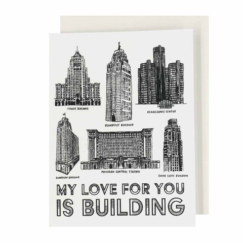 My Love For You Is Building Hand Silkscreened Card - City Bird