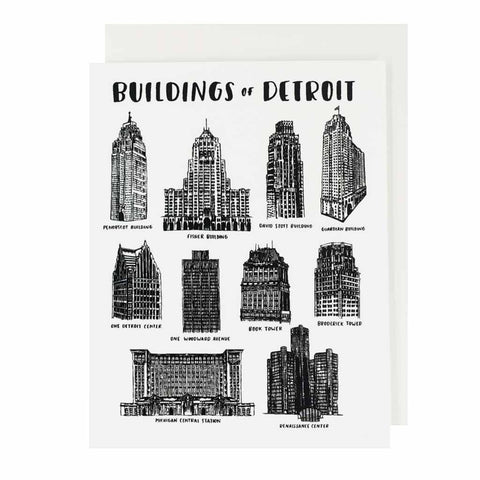 Buildings of Detroit Hand Silkscreened Card - City Bird