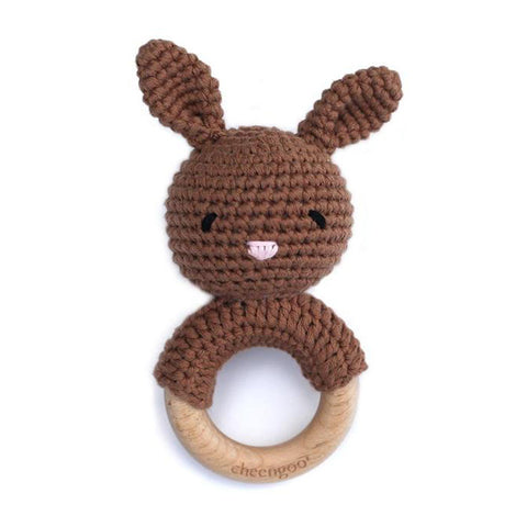 Mocha Bunny Rattle Teether
