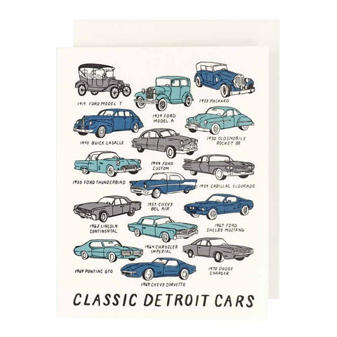 Classic Detroit Cars Lettepress Card - City Bird