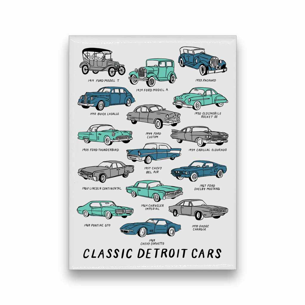 Detroit Classic Cars Magnet - City Bird