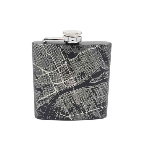 Detroit City Map Hip Flask - Matte Black
