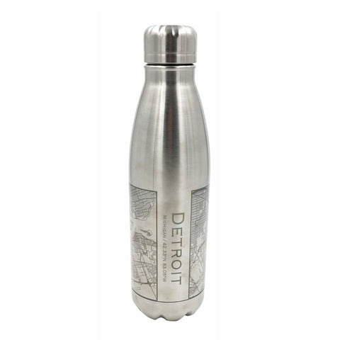 Detroit City Map Insulated Bottle - City Bird