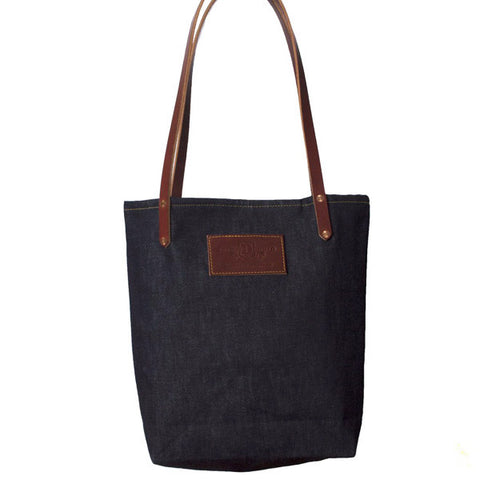 Selvedge Denim Tote with Bridle Leather Handles & Patch - City Bird