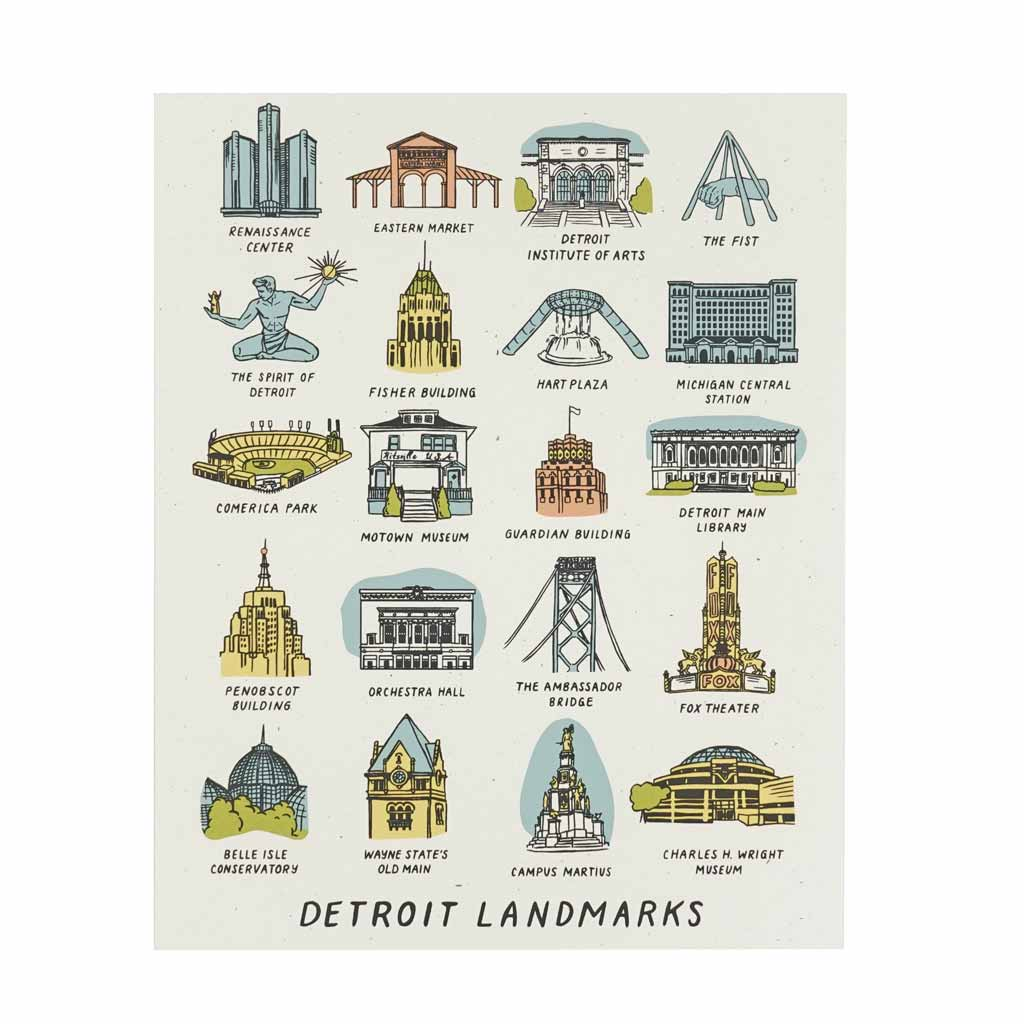 Detroit Landmarks Silkscreened Print - City Bird