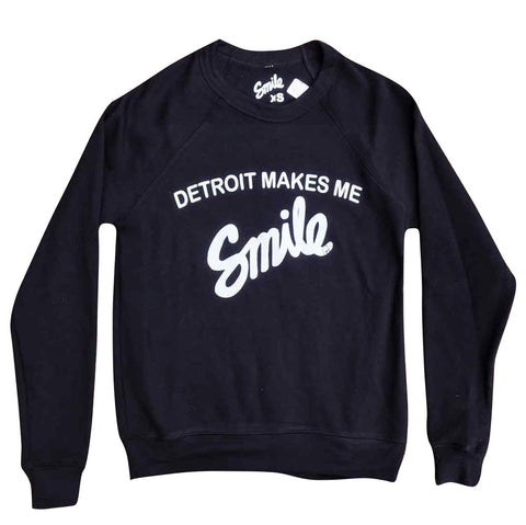 Detroit Makes Me Smile Crewneck - Black